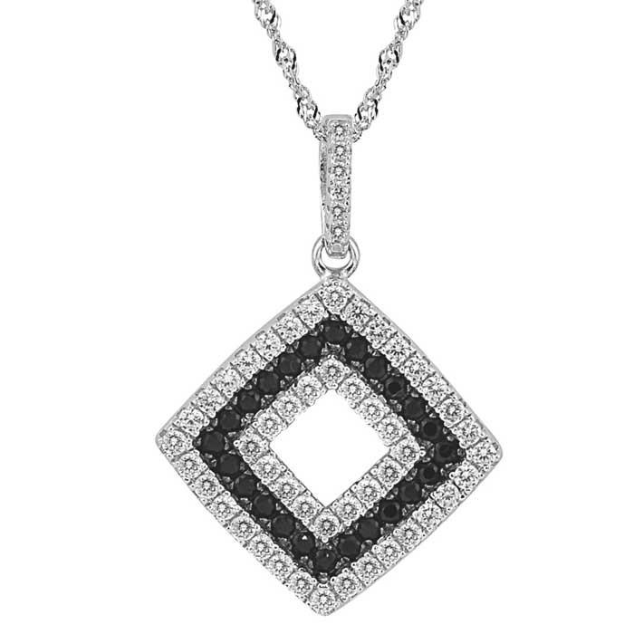 Sterling Silver Diamond Shape Pendant Necklace