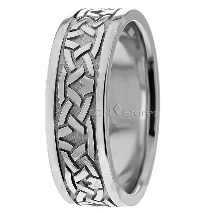 Celtic Knots & Crown Flat Wedding Rings 7mm - TDN Stores
