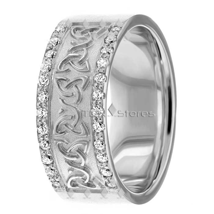 Mens Diamond Celtic Trinity Knot Wedding Bands 8mm - TDN Stores