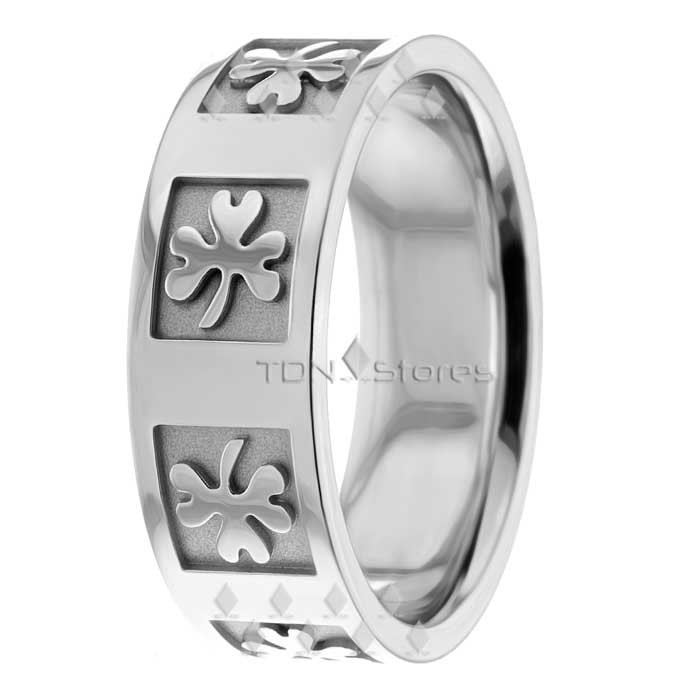 Shamrock Irish Clover Wedding Ring 75mm TDN Stores