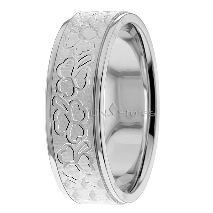 Irish Clover Shamrock Wedding Ring White Gold TDN Stores