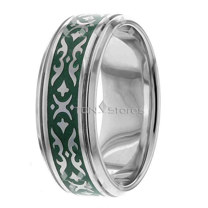 Green Enamel White Gold Celtic Wedding Ring CL288283 ...