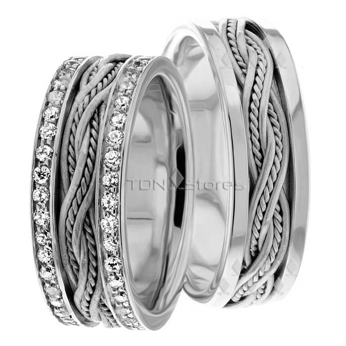 ec4d7a7ef6bc3 Lea 8.00mm Wide, Diamond Matching Wedding Bands, 1.2 Ctw. - TDN Stores