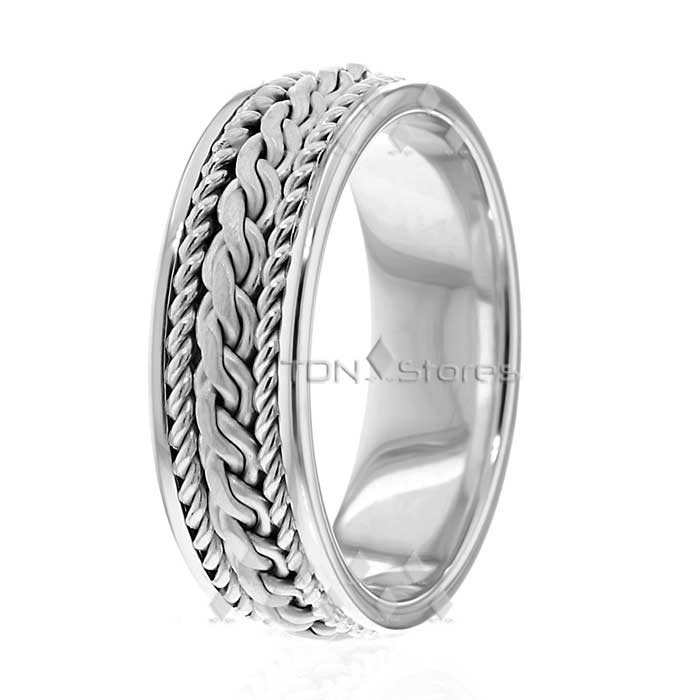 7mm Wide Braided White Gold Wedding Bands - TDN Stores