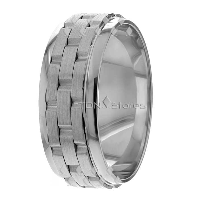 Watch Link Design White Gold Wedding Bands Rings TDN Stores
